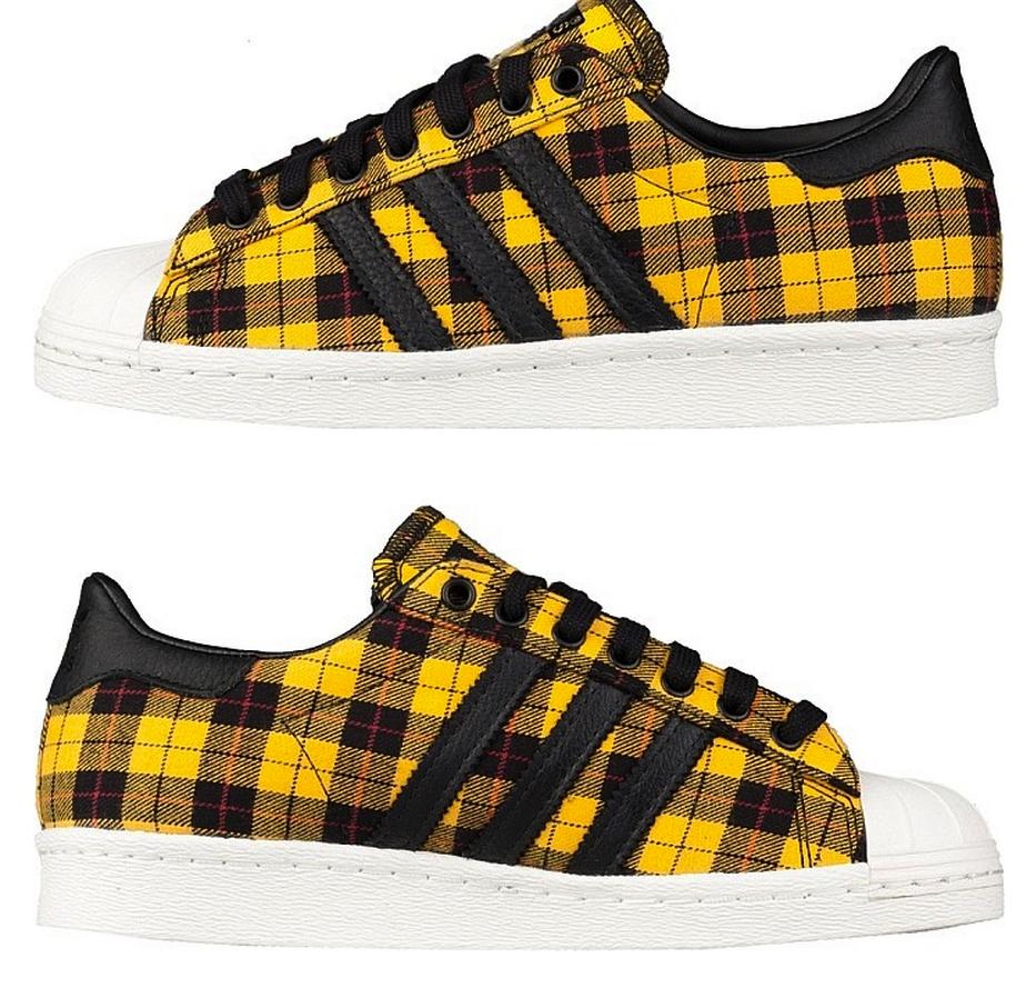 Adidas Originals SUPERSTAR 80's Flannel Plaid Forest Yellow
