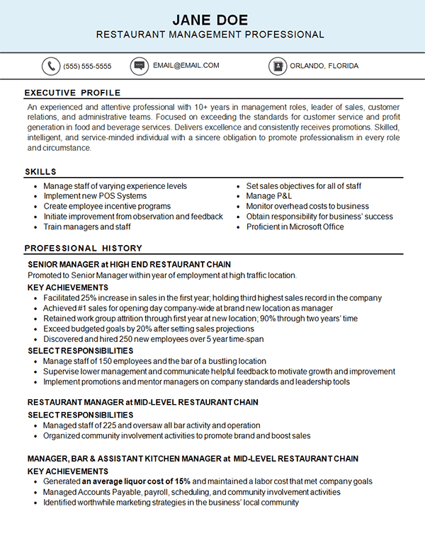Restaurant Management | Resume Examples | Restaurant resume