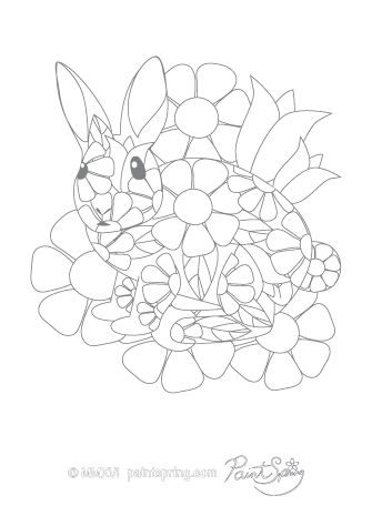 Rabbit Adult Coloring Page