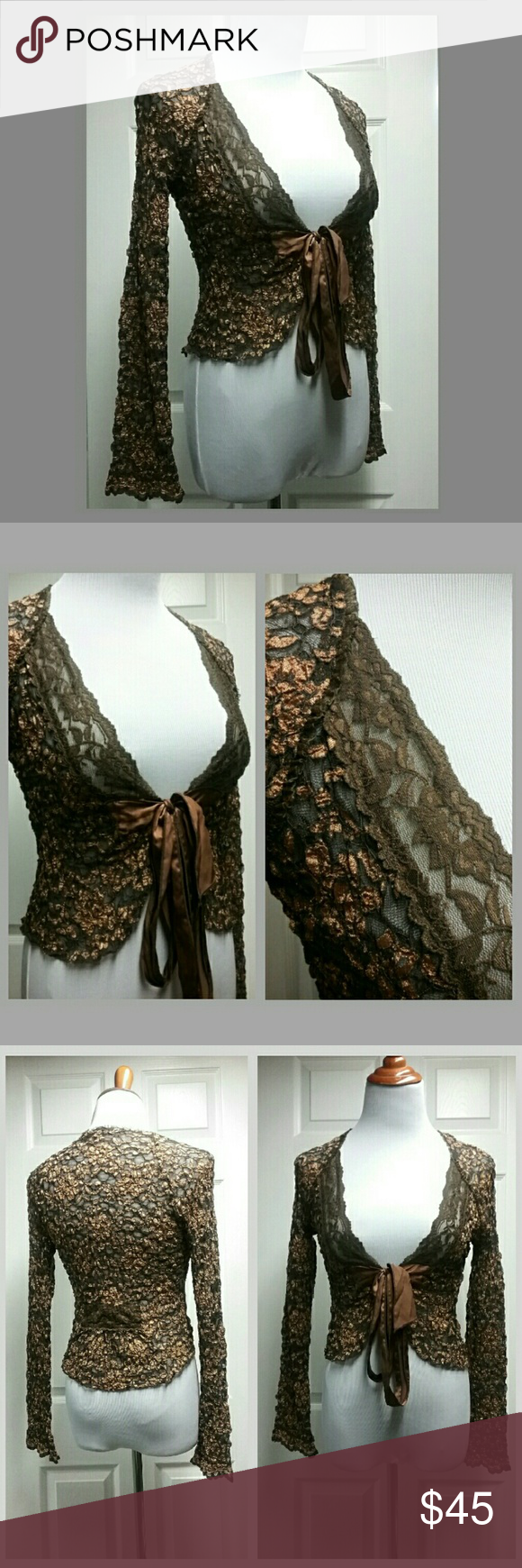 HP Ann Ferriday Copper Brown Shrug -20% Bundles | Sweater cardigan ...