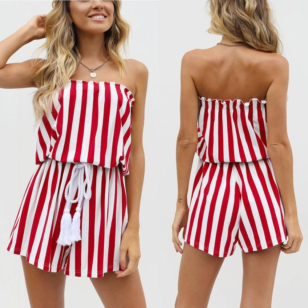US Ladies Jumpsuit Striped Women Summer Casual Sleeveless Romper Fashion New