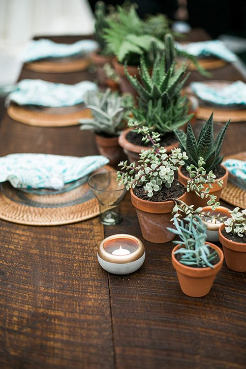 Wedding centerpiece idea we love potted plants wedding - Pot de decoration ...