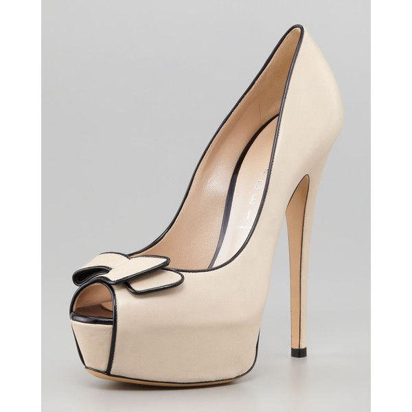 Women's Casadei Open-Toe Bow Platform Pump ($895) ❤ liked on Polyvore