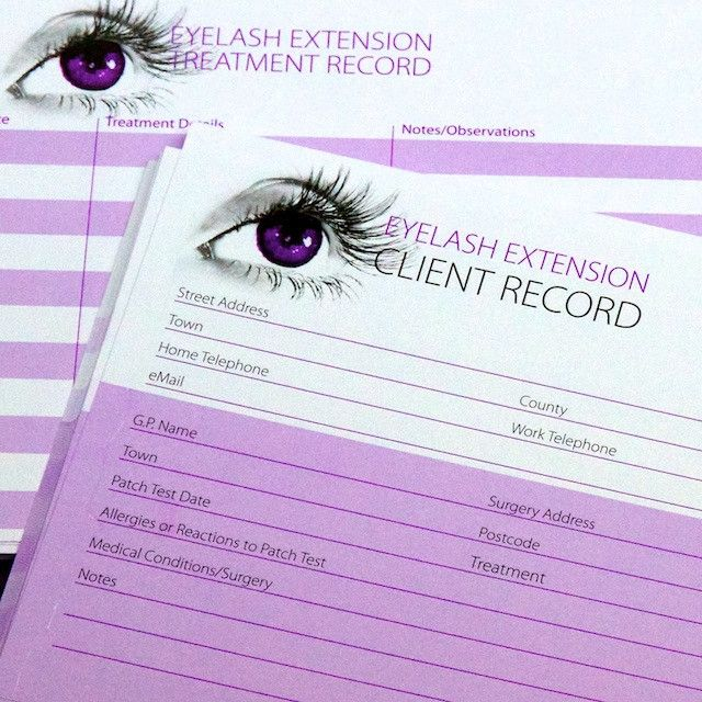 Eyelash Extension Client Record Cards By Eyelash Emporium