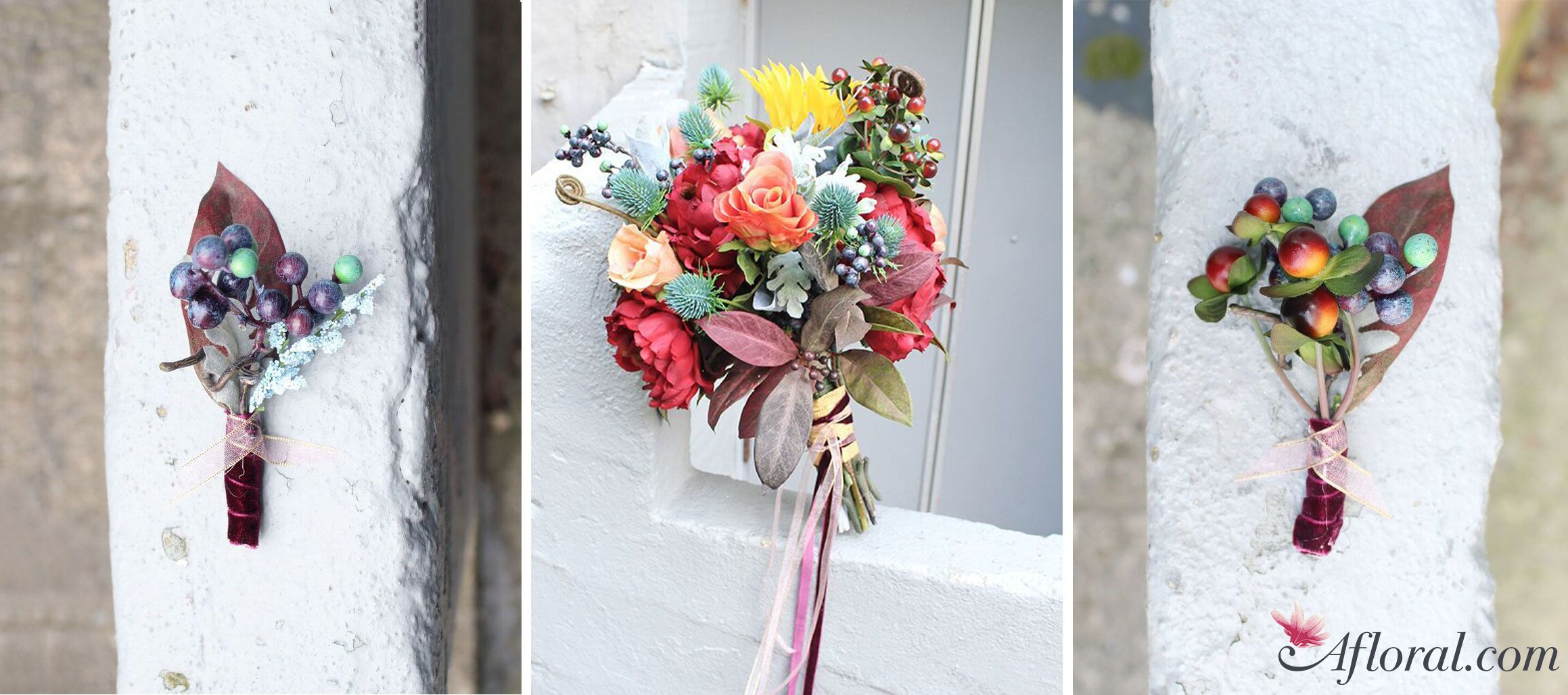 Diy Fall Bouquet Cranberry Coral Fall Bouquets Silk Flowers And