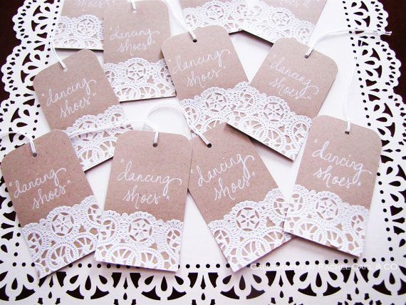 Doily Wedding Place Cards On Craft Paper Tags