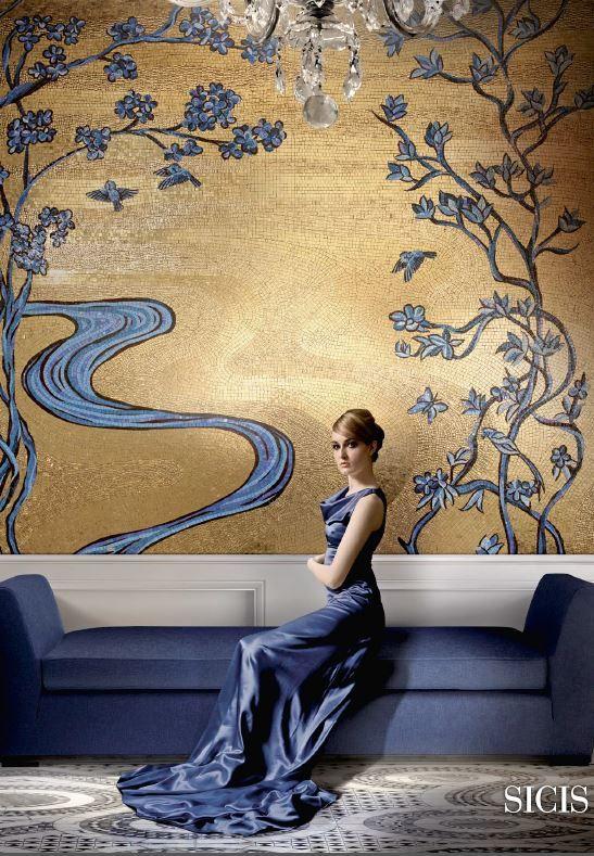 Wall art gold and blue mosaic | Stain Glass | Pinterest | Mosaics ...