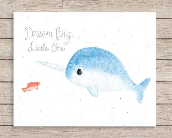 Narwhal Dream Big Little One Print Whale Print by JulieAnnStudios ...