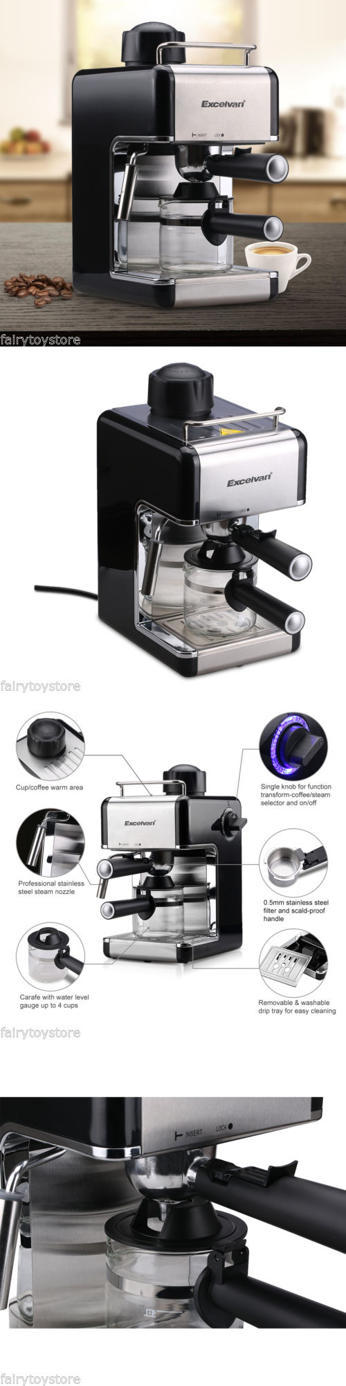 Appliances stainless steel steam espresso cappuccino coffee maker