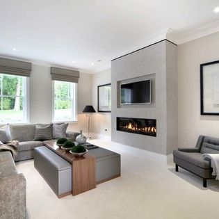 Http Www Houzz Com Uk Photos Living Tv And Fireplace On Same Wall Contemporary Family Rooms Contemporary Living Room Design Living Room Grey