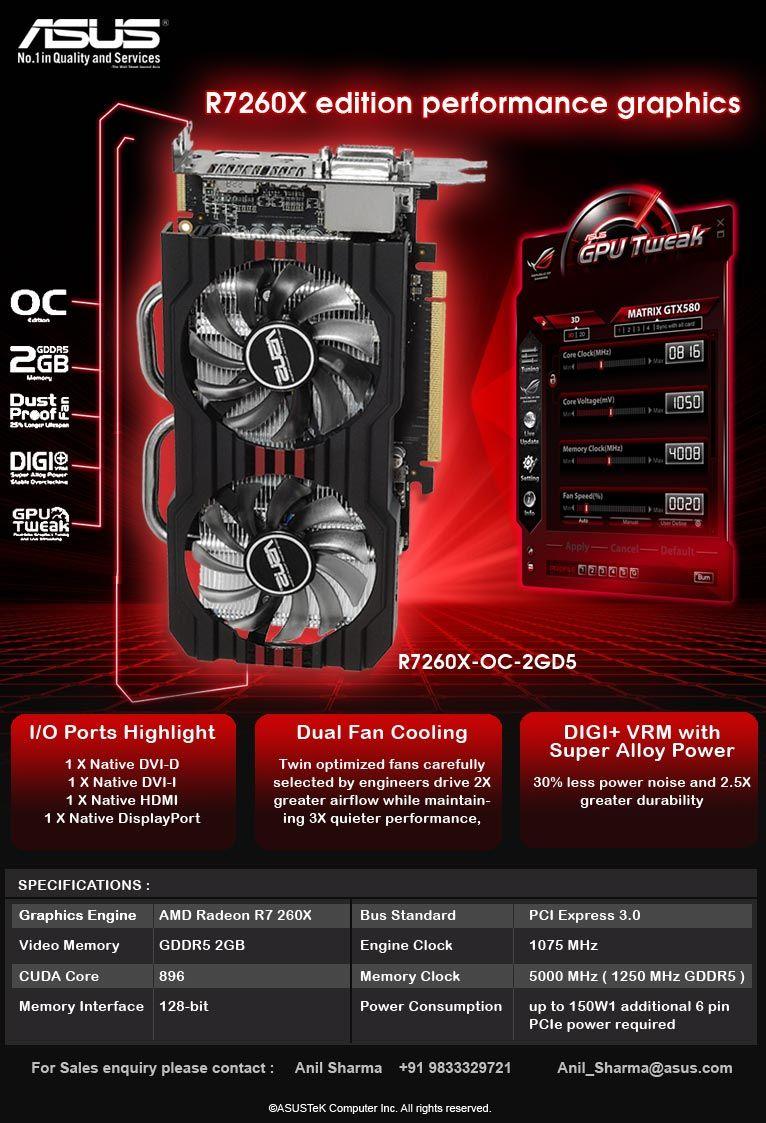R7260X-OC-2GD5 ASUS R7 260X OC edition performance graphics