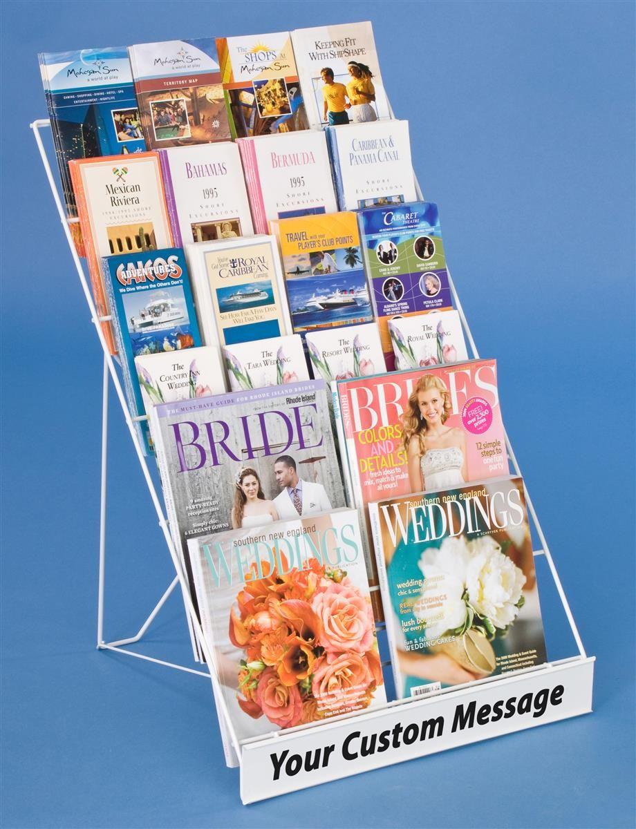 6 Tiered Wire Literature Rack 4 8 5 W Tabletop Header White Literature Organizer Magazine Rack Brochure Display