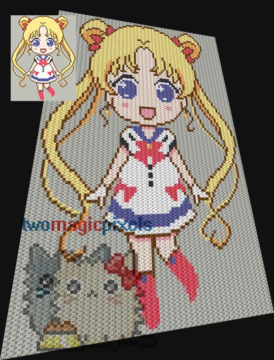 Sailor Moon crochet pattern/graphghan, JPG and PDF download/ Crochet ...