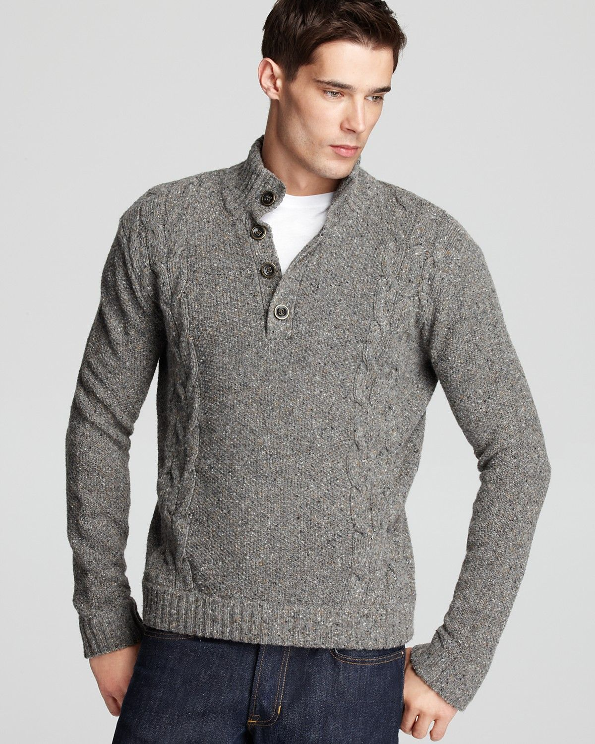 grey cable knit sweater men - Google Search