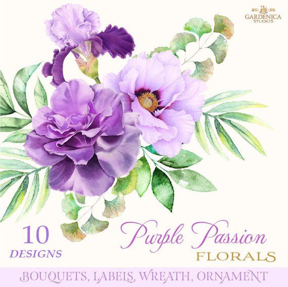 Watercolor Flowers Clipart, Watercolor Purple Flowers, Purple Flower