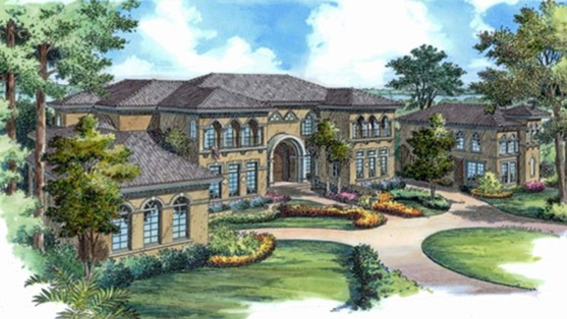 Home Plan Homepw77051 12371 Square Foot 6 Bedroom 6 Bathroom Italianate Home Wit Mediterranean Mansion Mediterranean Style House Plans Mediterranean Homes