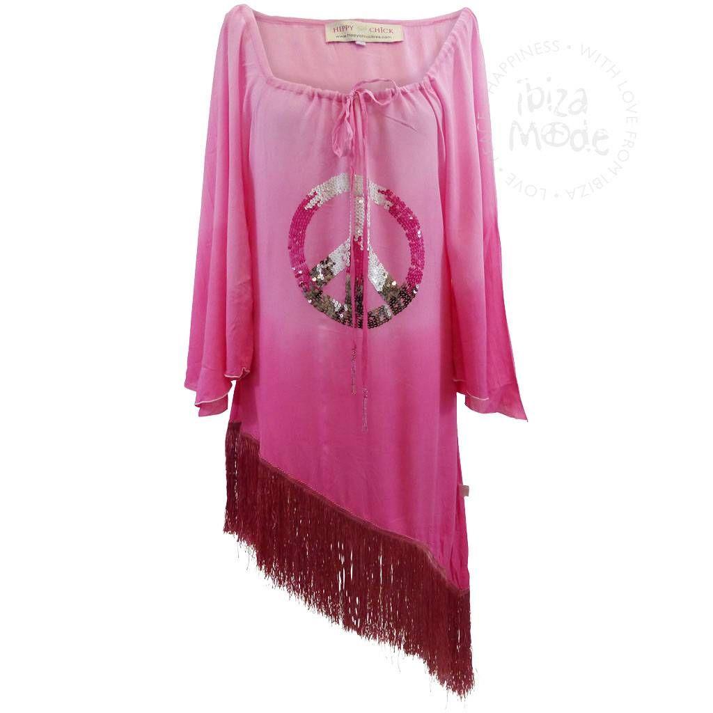Hippy Chique Tunic Peace Fuchsia - Ibizamode