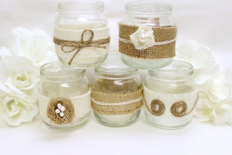 Burlap Mason Jar Western Wedding Decorations - Burlap flowers tea ...