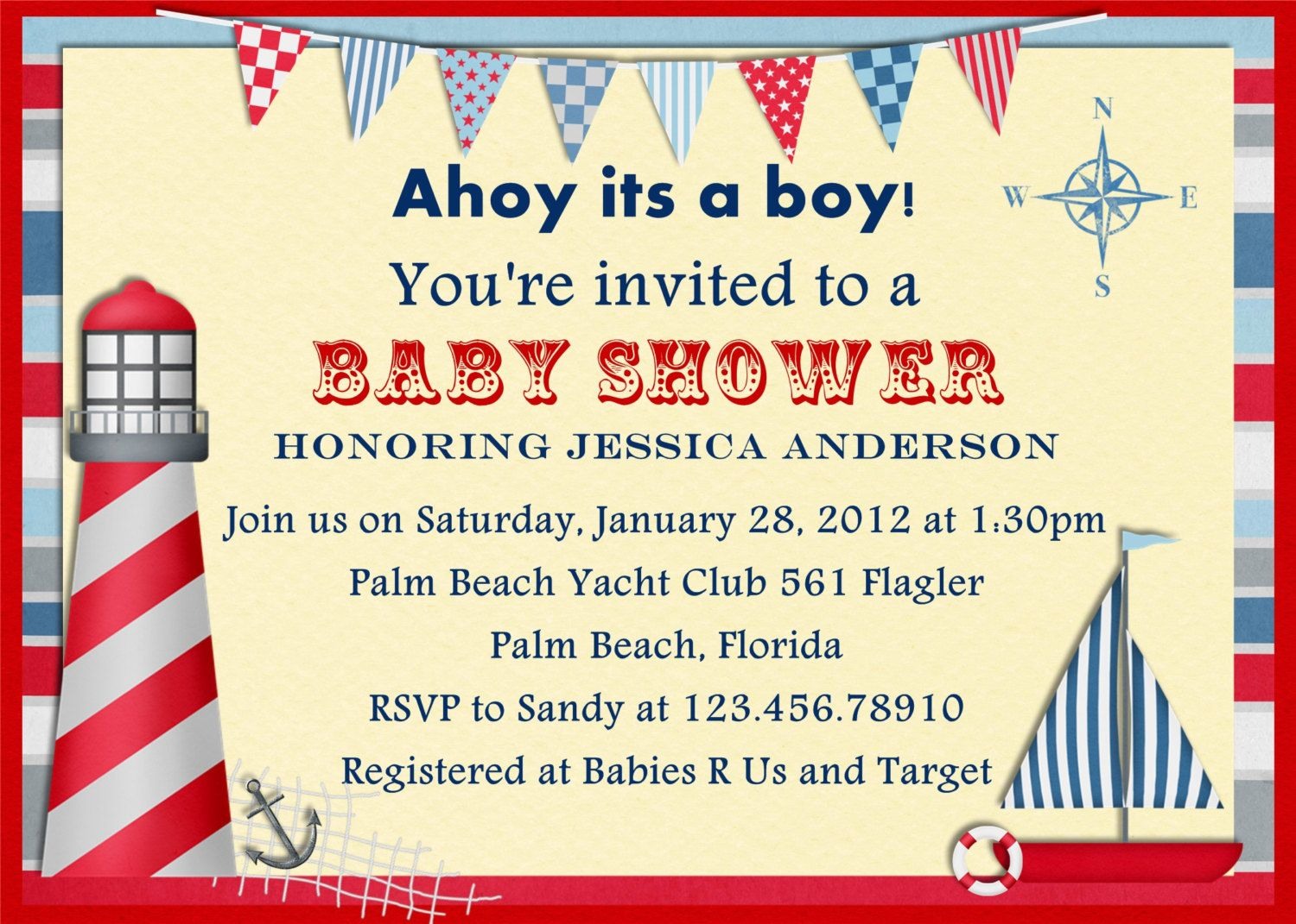 Nautical Baby Shower Invitations 4 HD Wallpapers