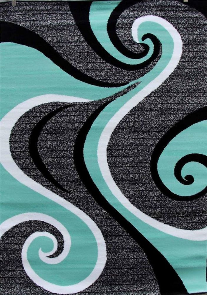 Turquoise Swirls 5x7 Area Rug Modern Contemporary Abstract Gray Black White