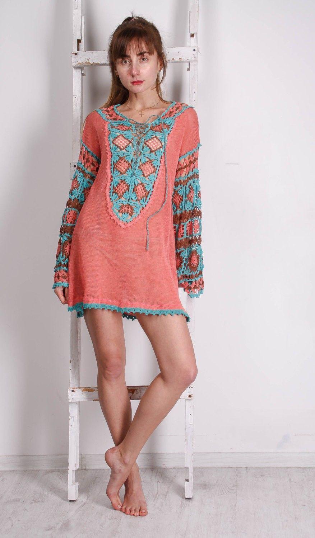 Crocheted Ethnic Tunic, KNITTED Coral Tunic CROCHET ethnic Women ...