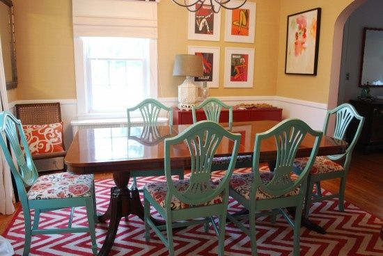 turquoise and red dining room | painted chair ideas - dreaming of