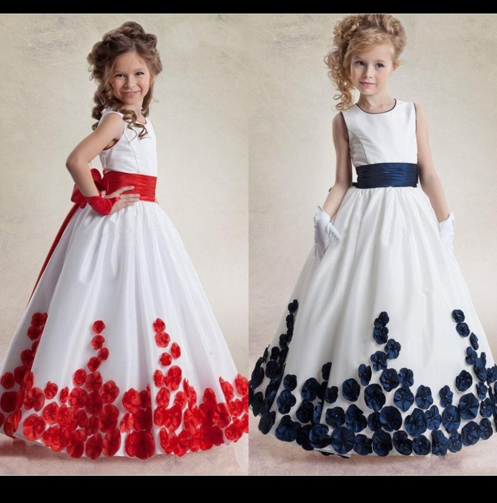 Click to buy ucuc white flower girl dresses jewel ribbon sash