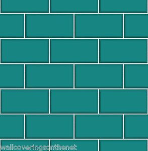 Teal White Subway Tile Effect Tiling On A Roll Bathroom Kitchen Wallpaper