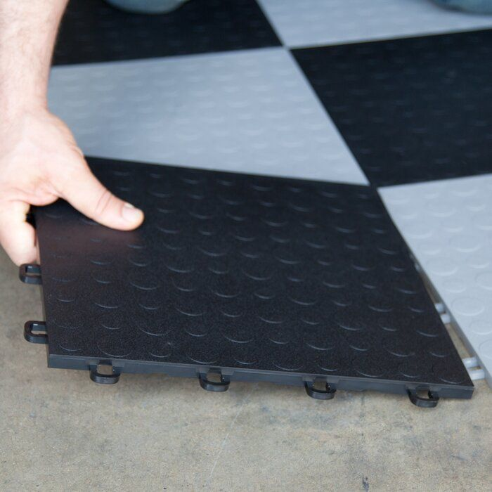 12 X 12 Garage Flooring Tile In Black Garage Floor Tiles Garage Decor Garage Floor