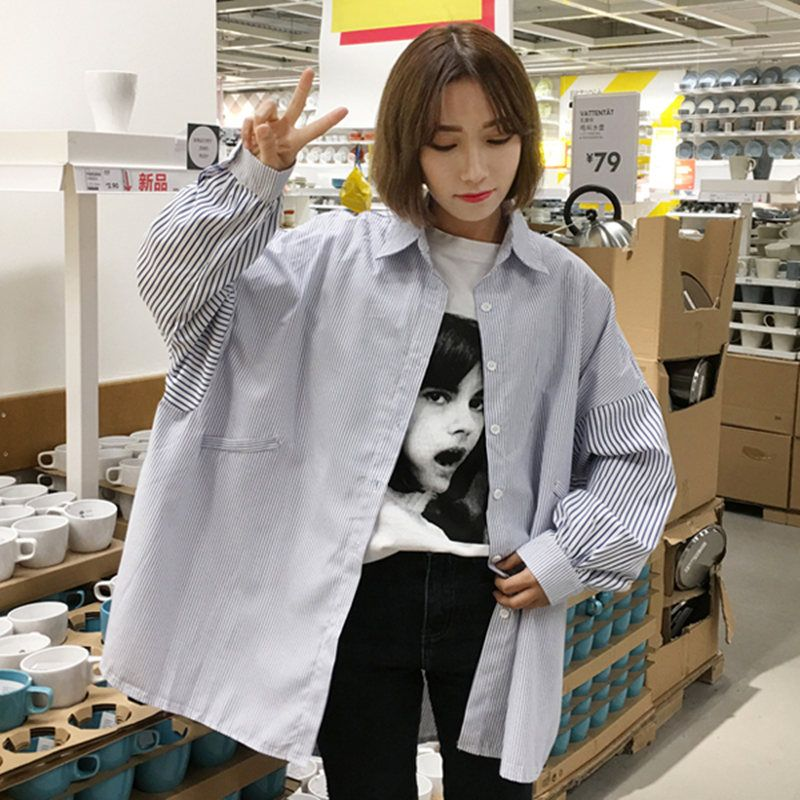 1153116e Kfashion, korean style, ulzzang, oversized. Find this Pin and more on  Clothing by Yulia. Tags. Oversized Striped Shirt