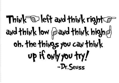 Quote It Seuss Think Left And Right Low High Dr Vinyl Wall Art Decals Stickers Love Kids Bedroom