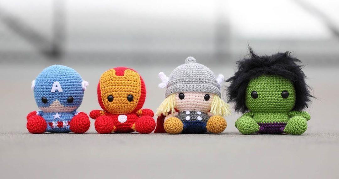 The #Avangers. #CapitanAmerica 🇺🇸. #Iroman ⚙️. #Thor 🔨. #Hulk 🦠. Información al DM. Envíos Nacionales. . . #amigurumi #valencia #venezuela #regalo #enamorados #amor #peluche #diadelniño #echoamano #tejer #crochet