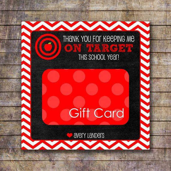 Printable On Target Teacher Appreciation Gift Card Holder Gift