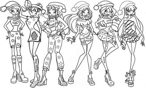 Christmas Club Coloring Pages Winx 2020 Tegninger Maleboger