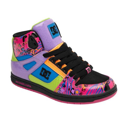This is a very colorful shoe. The only illustrated element on this shoe is the bottom piece and top piece next to the tongue. Bright colors move through this design with some added animal spots. I think the target market for this shoe would be young to teenage girls. There is a little too many colors for my liking.
