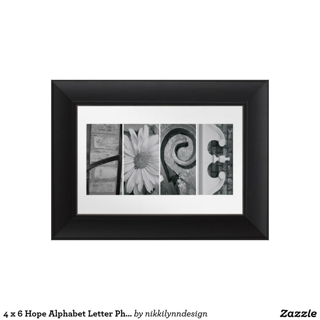 4 x 6 Hope Alphabet Letter Photography Photo Print + Standard Frame