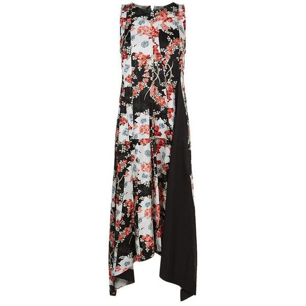 Rag & Bone Otilia Sleeveless Floral Dress (3.555 DKK) ❤ liked on Polyvore featuring dresses, day summer dresses, round neck sleeveless dress, floral a line dress, floral summer dresses and black and red floral dress