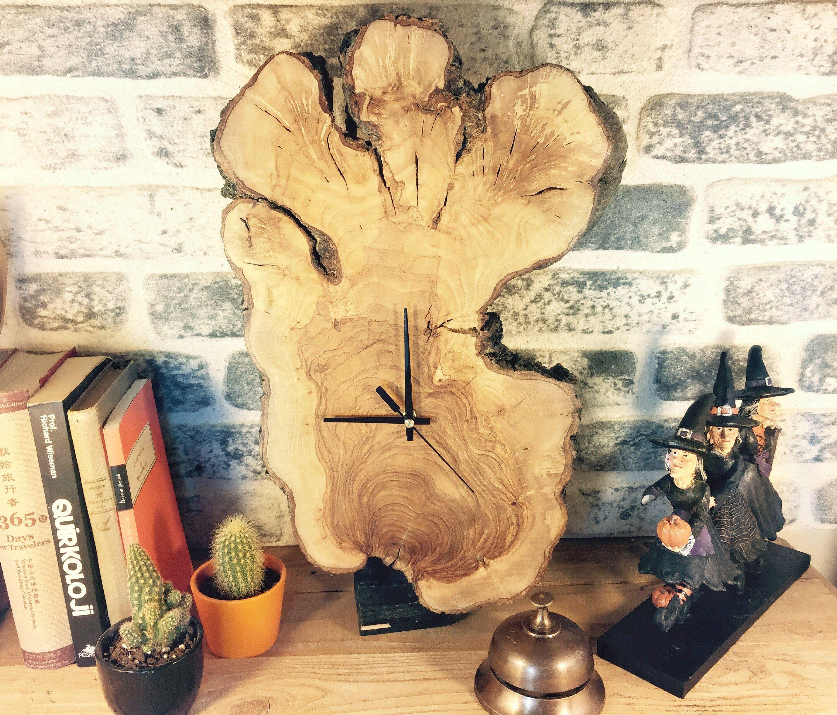 Natural Wood Clock, Large Wall Clock, Log Cabin Decor, Rustic Wall ...