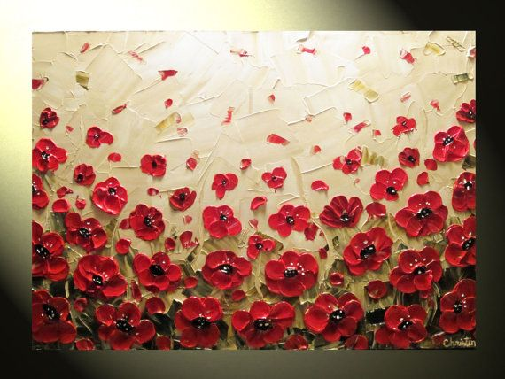 Original Abstract Textured Painting, Red Poppy Painting ...