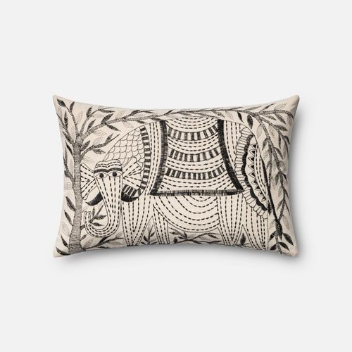 Ivory And Black 13 X 21 Inch Pillow With Down Insert