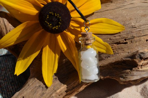 Snow Quartz Stones in a Vial on a Leather Cord Necklace