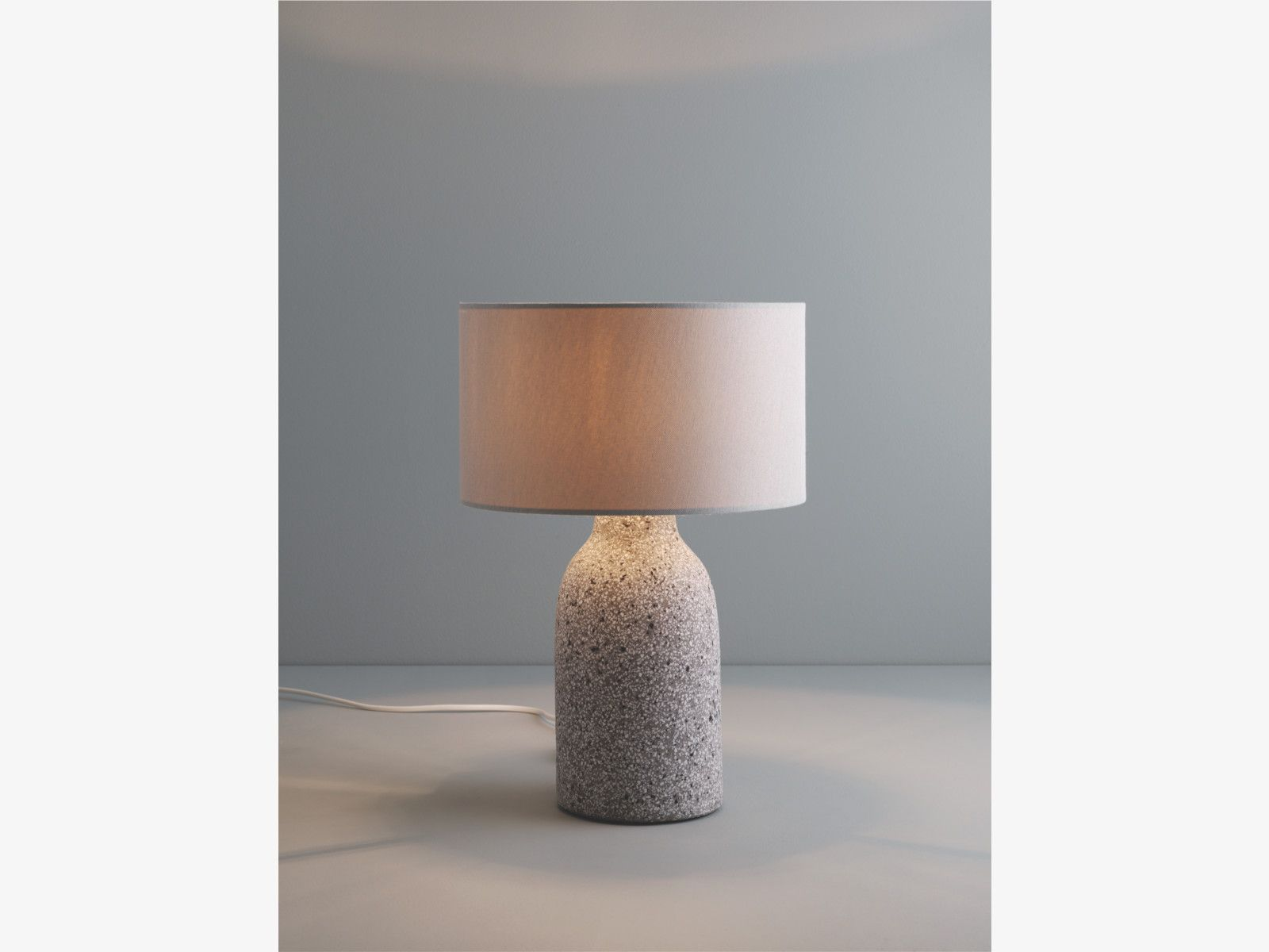 Marguerite Grey Stone Grey Terrazzo Stone Table Lamp With Fabric