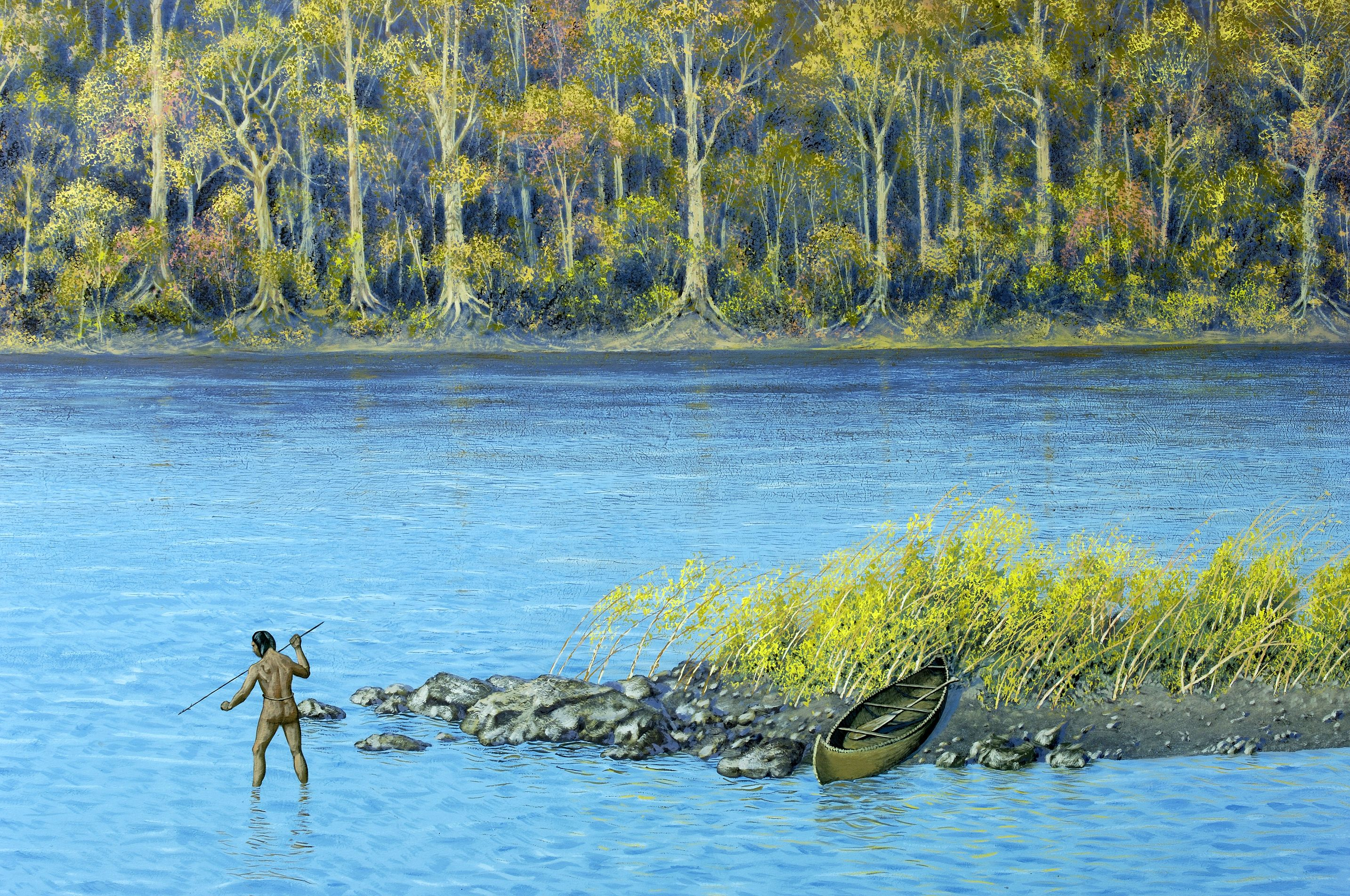 native american fishing | Background of diorama showing ...