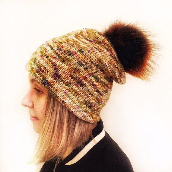 5db517b8d Knitted merino Pom Pom Hat for women, handmade Winter Women's chunky ...