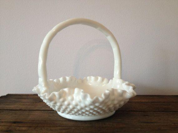 Vintage Fenton White Hobnail Milk Glass Basket White Milk Glass Basket I Have This One Hobnail Milk Glass Hobnail Glass White Milk Glass