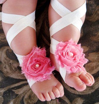 Hot Pink Pearl Ballet Barefoot Flower Sandals