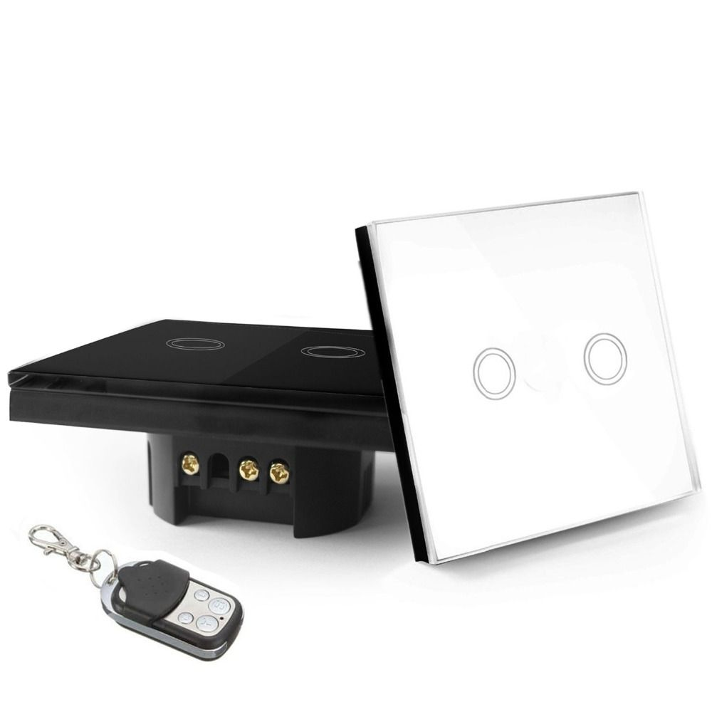 Eu standard 2 gang 1 way remote control touch switch remote wall eu standard 2 gang 1 way remote control touch switch remote wall light switch with cystal glass panel led indicator aloadofball Images