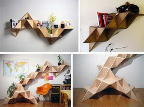 Idea For Abstract Shelf From Plywood Leftovers... If You Can Figure Out How  To Build It! Somewhere To Display Your Plants In The Garden.