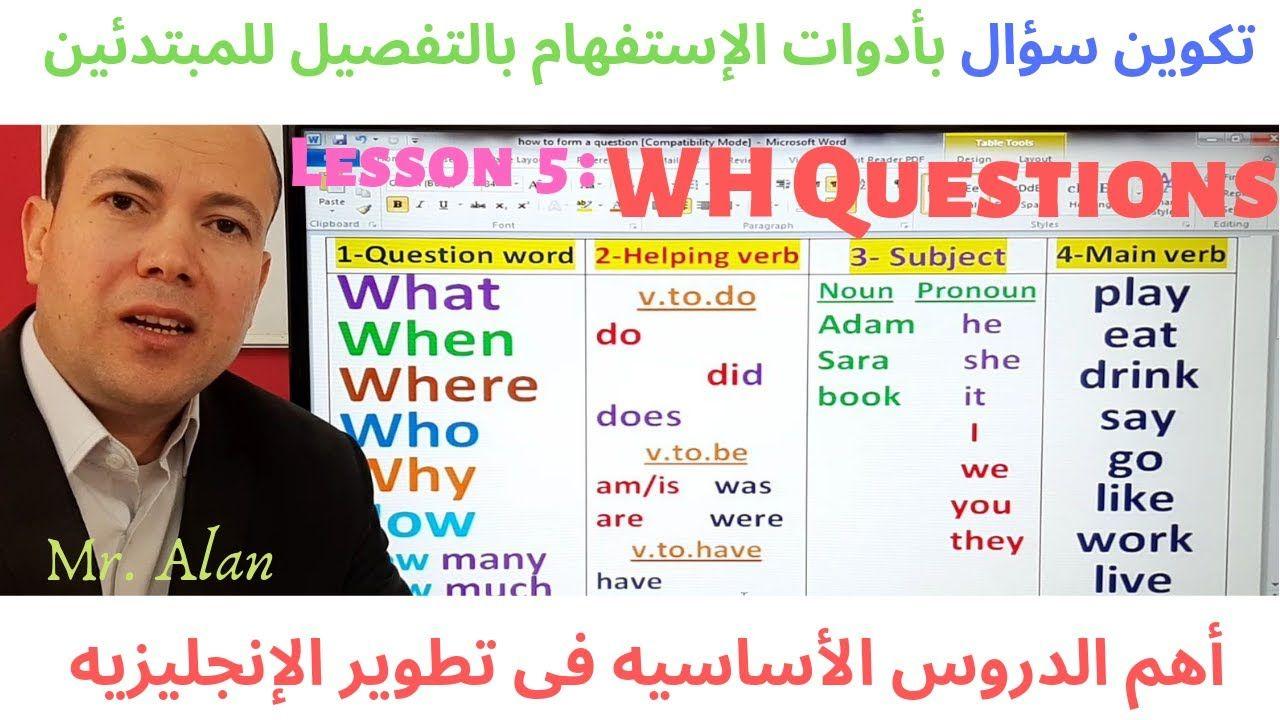 4 كيف تسأل سؤال فى اللغه الانجليزيه فى المضارع والماضى والمستقبل والمستمر الدرس The Question Youtube Helping Verbs Main Verbs Nouns