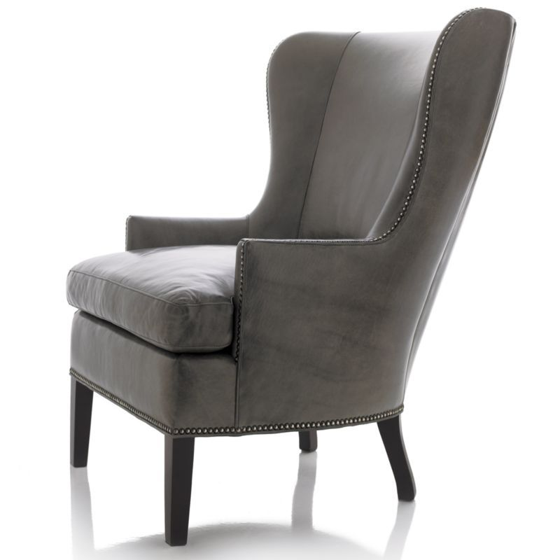 Dylan Leather Wingback Chair | Crate and Barrel | chair ...